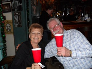 Sue and Hubby getting ready to rock 'Red Solo Cup'