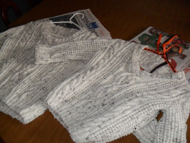 2 aran knit sweaters for the boys