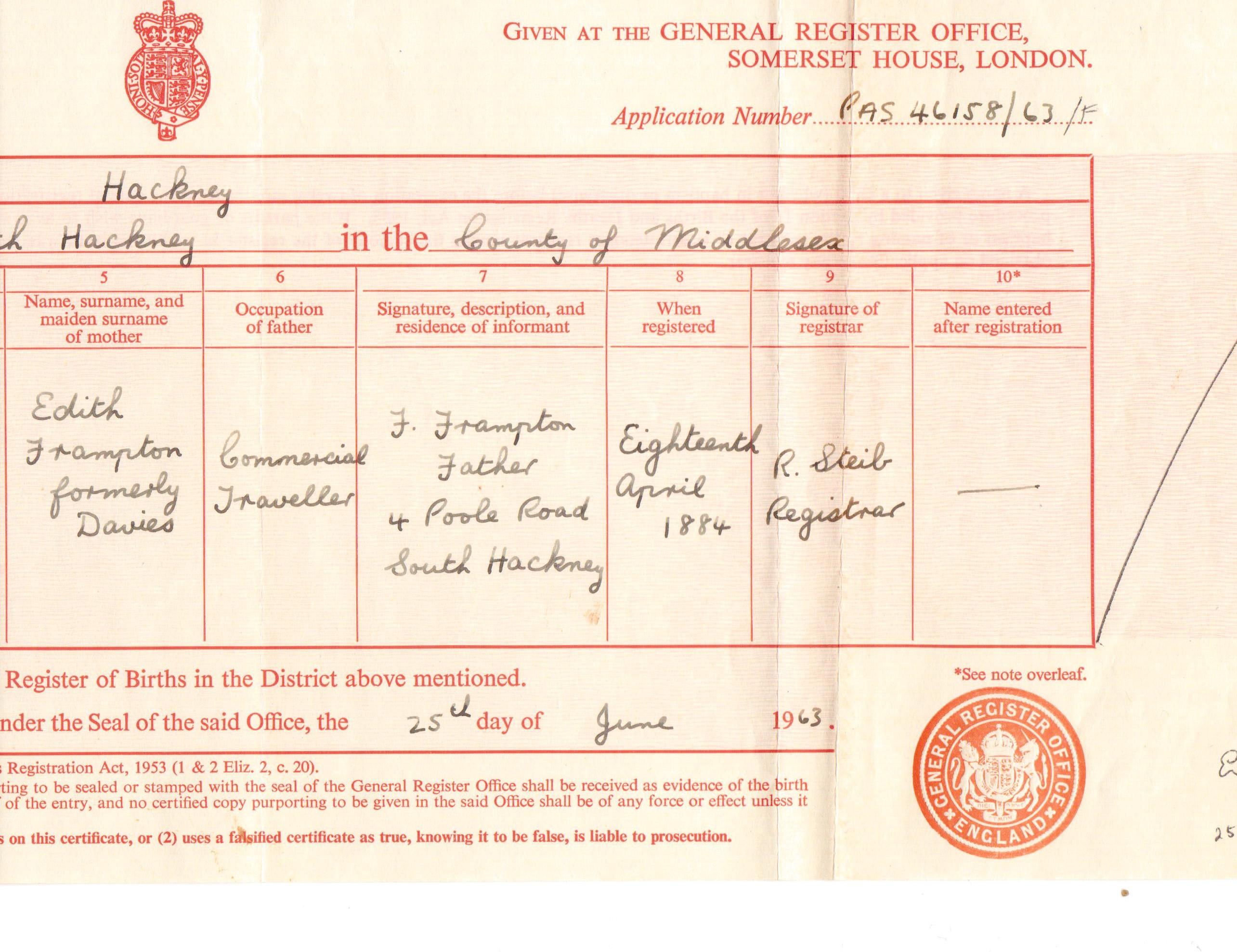 cropped birth certificate Annie2